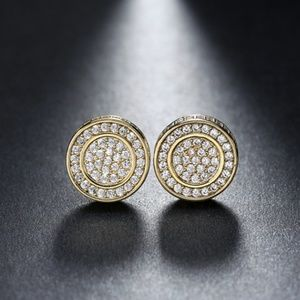 Paved Stud Earrings AAA Cubic Zirconia
